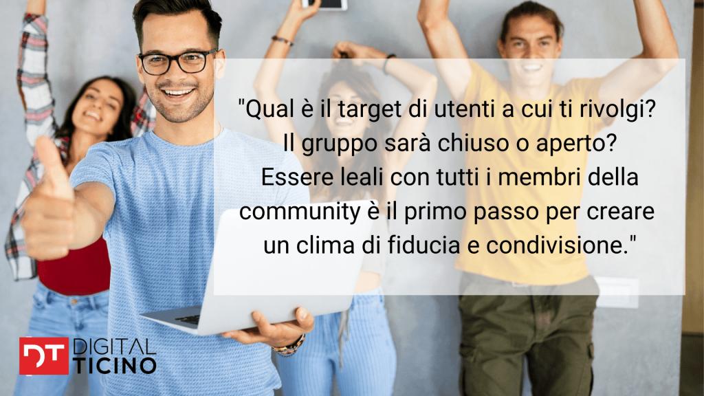 è importante definire l'identità della community sui social media. bisogna definire il proprio target di utenti.